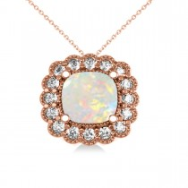 Opal & Diamond Floral Cushion Pendant Necklace 14k Rose Gold (1.68ct)