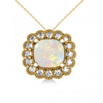 Opal & Diamond Floral Cushion Pendant Necklace 14k Yellow Gold (1.68ct)