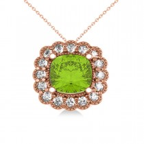 Peridot & Diamond Floral Cushion Pendant Necklace 14k Rose Gold (2.88ct)