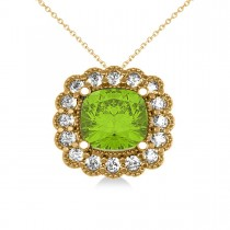 Peridot & Diamond Floral Cushion Pendant Necklace 14k Yellow Gold (2.88ct)