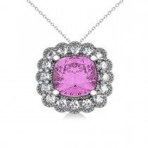 Pink Sapphire & Diamond Floral Cushion Pendant Necklace 14k White Gold (3.16ct)
