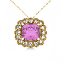 Pink Sapphire & Diamond Floral Cushion Pendant Necklace 14k Yellow Gold (3.16ct)