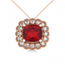 Ruby & Diamond Floral Cushion Pendant Necklace 14k Rose Gold (3.16ct)