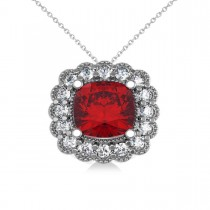 Ruby & Diamond Floral Cushion Pendant Necklace 14k White Gold (3.16ct)