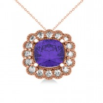 Tanzanite & Diamond Floral Cushion Pendant Necklace 14k Rose Gold (2.91ct)
