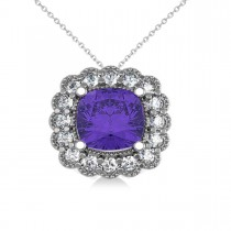 Tanzanite & Diamond Floral Cushion Pendant Necklace 14k White Gold (2.91ct)