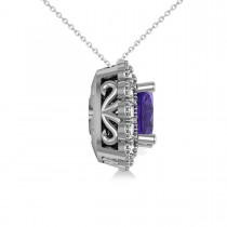 Tanzanite & Diamond Floral Cushion Pendant Necklace 14k White Gold (2.91ct)|escape