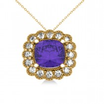 Tanzanite & Diamond Floral Cushion Pendant Necklace 14k Yellow Gold (2.91ct)
