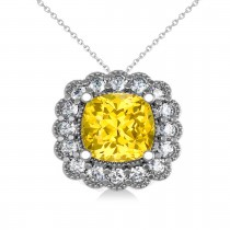 Yellow Sapphire & Diamond Floral Cushion Pendant Necklace 14k White Gold (3.16ct)