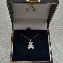 Diamond Accented Teddy Bear Pendant Necklace in 14k White Gold (0.28ct)