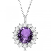 Oval Amethyst & Diamond Pendant Necklace 14k White Gold (5.40ctw)