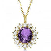 Oval Amethyst & Diamond Pendant Necklace 14k Yellow Gold (5.40ctw)
