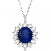 Oval Blue Sapphire & Diamond Pendant Necklace 14k White Gold (5.40ctw)