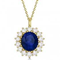 Oval Blue Sapphire & Diamond Pendant Necklace 14k Yellow Gold 5.40ctw
