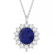 Oval Blue Sapphire & Diamond Pendant Necklace 18k White Gold (5.40ctw)