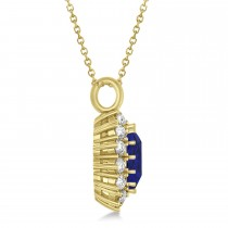Oval Blue Sapphire & Diamond Pendant Necklace 18k Yellow Gold (5.40ctw)