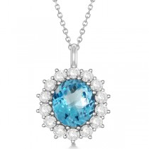 Oval Blue Topaz & Diamond Pendant Necklace 14k White Gold (5.40ctw)