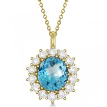 Oval Blue Topaz & Diamond Pendant Necklace 14k Yellow Gold (5.40ctw)
