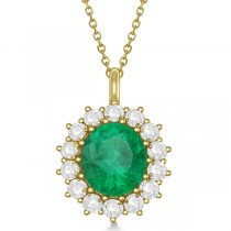 Oval Emerald and Diamond Pendant Necklace 14k Yellow Gold (5.40ctw)