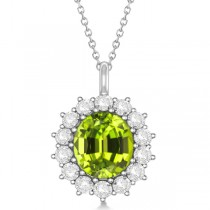 Oval Peridot & Diamond Pendant Necklace 14k White Gold (5.40ctw)