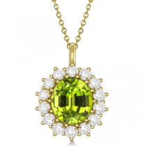 Oval Peridot & Diamond Pendant Necklace 14k Yellow Gold (5.40ctw)