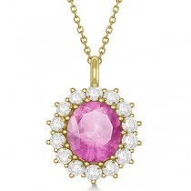 Oval Pink Sapphire & Diamond Pendant Necklace 14k Yellow Gold 5.40ctw