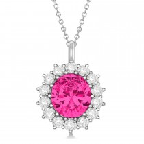 Oval Pink Tourmaline and Diamond Pendant Necklace 14k White Gold (5.40ctw)