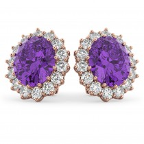 Oval Amethyst & Diamond Accented Earrings 14k Rose Gold (10.80ctw)