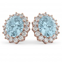 Oval Aquamarine & Diamond Accented Earrings 14k Rose Gold (10.80ctw)