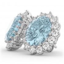 Oval Aquamarine & Diamond Accented Earrings 14k White Gold (10.80ctw)