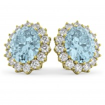 Oval Aquamarine & Diamond Accented Earrings 14k Yellow Gold (10.80ctw)