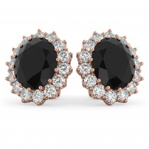 Oval Black Diamond & Diamond Accented Earrings 14k Rose Gold (10.80ctw)