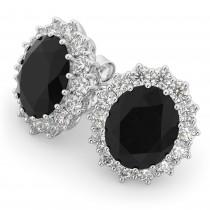 Oval Black Diamond & Diamond Accented Earrings 14k White Gold (10.80ctw)