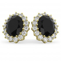 Oval Black Diamond & Diamond Accented Earrings 14k Yellow Gold (10.80ctw)