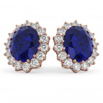 Oval Blue Sapphire & Diamond Accented Earrings 14k Rose Gold (10.80ctw)