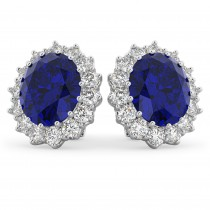 Oval Blue Sapphire & Diamond Accented Earrings 14k White Gold (10.80ctw)