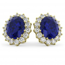 Oval Blue Sapphire & Diamond Accented Earrings 14k Yellow Gold (10.80ctw)