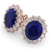 Oval Blue Sapphire & Diamond Accented Earrings 18k Rose Gold (10.80ctw)
