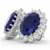 Oval Blue Sapphire & Diamond Accented Earrings 18k White Gold (10.80ctw)