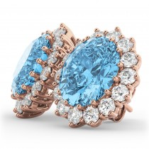 Oval Blue Topaz & Diamond Accented Earrings 14k Rose Gold (10.80ctw)