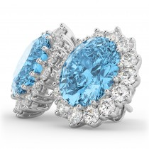Oval Blue Topaz & Diamond Accented Earrings 14k White Gold (10.80ctw)