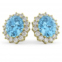 Oval Blue Topaz & Diamond Accented Earrings 14k Yellow Gold (10.80ctw)