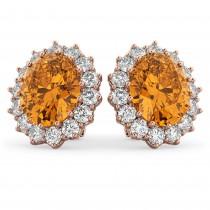 Oval Citrine and Diamond Earrings 14k Rose Gold (10.80ctw)