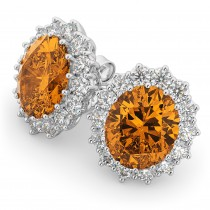 Oval Citrine and Diamond Earrings 14k White Gold (10.80ctw)