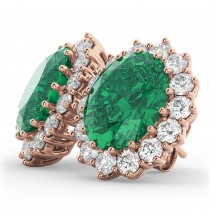 Oval Emerald and Diamond Earrings 14k Rose Gold (10.80ctw)