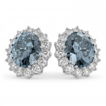 Oval Gray Spinel & Diamond Accented Earrings 14k White Gold (10.80ctw)