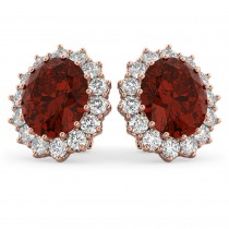 Oval Garnet and Diamond Earrings 14k Rose Gold (10.80ctw)