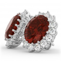Oval Garnet and Diamond Earrings 14k White Gold (10.80ctw)