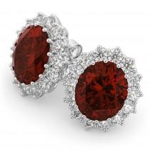 Oval Garnet and Diamond Earrings 14k White Gold (10.80ctw)