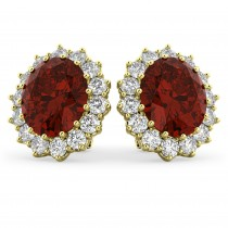 Oval Garnet and Diamond Earrings 14k Yellow Gold (10.80ctw)